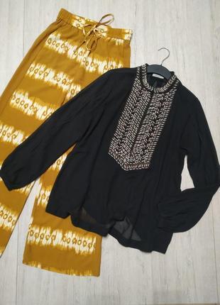 Невероятная шифоновая блуза hunkydory в стили бохо, этно. вышиванка с бисером