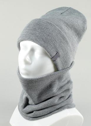 Стильный теплый комплект шапка  и снуд , много цветов , шерсть+акрил