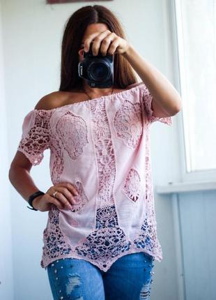 Кружевная коттоновая блуза розового цвета размер м