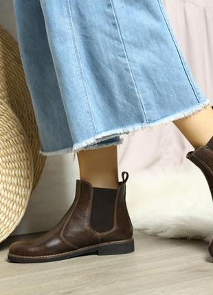 Челси кожаные коричневые, кожа натуральная, деми ботинки