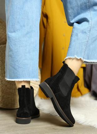 Черные зашевые челси, деми ботинки замша