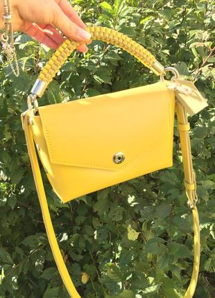 Стильная кожаная сумка кроссбоди натуральная кожа с короткой и длинной ручкой