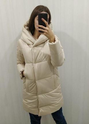 Бежевая зимняя куртка| очень теплая| одеяло| капюшон облачко| лучшая цена