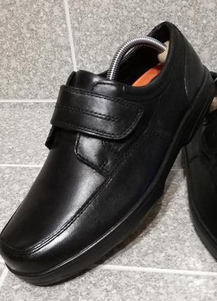 Мужские кожаные туфли комфорт на липучке