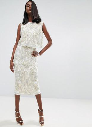 Asos сукня повністю розшита бісером та паєтками ексклюзив