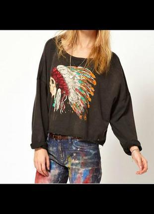 Распродажа женская кофта свитшот худи батник свитер с индейцем рваный черный размер м