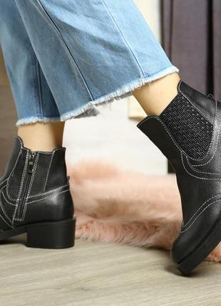 Черные кожаные деми ботинки , кожа натуральная