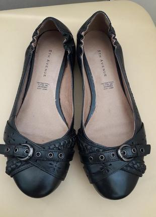 38 р. 5th avenue кожаные симпатичные туфли балетки