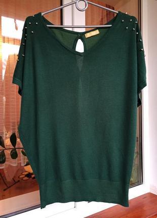 Зеленый пуловер с коротким рукавом кофта безрукавка фирмы laetitia mem