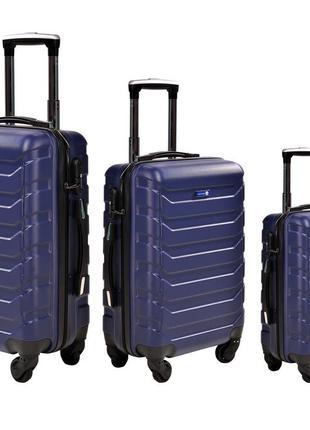 Дорожный чемодан на 4 колесах маленький,средний,большой (096 dark blu )