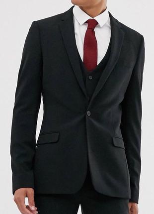 Черный супероблегающий пиджак asos design