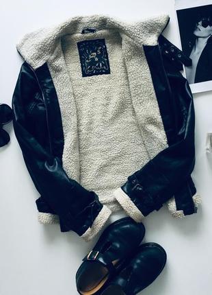 Косуха на овчине/ зимняя косуха/ утеплённая кожаная куртка/ шерпа