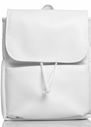 Белый женский рюкзак из кожзама для учебы