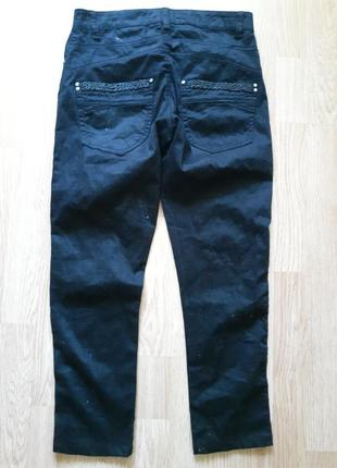 Черные укороченные брюки с украшением бисером