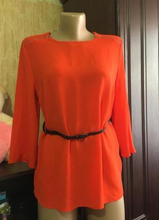 Свободная блуза с рукавом, кораловая, под пояс