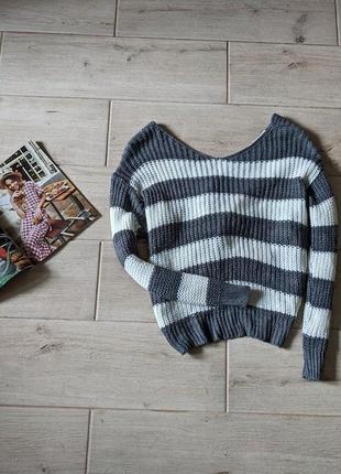 Двухсторонний свитер с переплетом в полоску m l