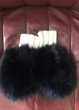 Варежки натуральный мех зима львов новые