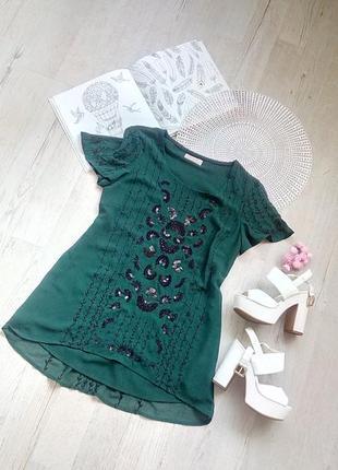 Кофточка блузка блуза актуальная зелёная изумрудная фирменная с вышивкой бисером паэтками