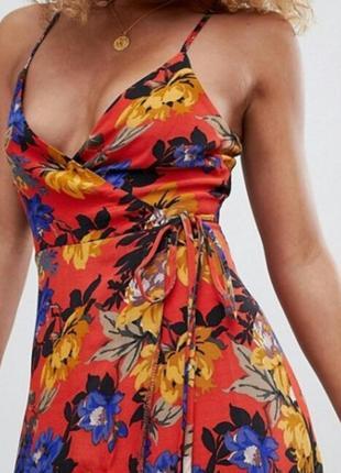 Брендовое платье макси на бретельках в цветочный принт на запах new look
