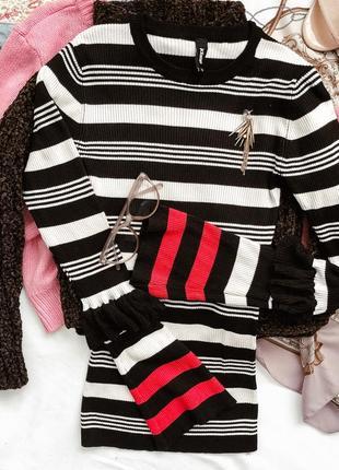 Черно-белый лонгслив кофта полосатая с рукавами клёш