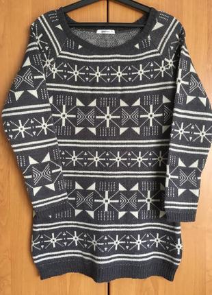 Зимний свитер с норвежским узором, шерсть