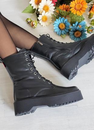 Рр 36-40 осень(зима)натуральная матовая кожа стильные черные ботинки на платформе