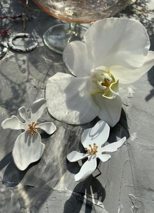 Серьги цветы белые объемные гвоздики