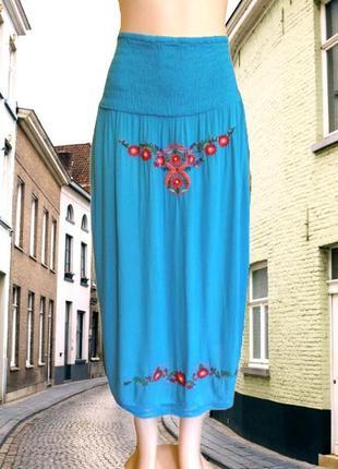 Бирюзовая юбка, или платье f&f, из вискозы с вышивкой, большой размер