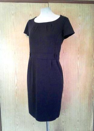 Черное трикотажное платье, xl.