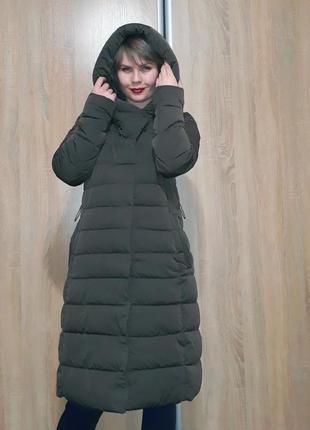 Шикарный длинный шоколадный пуховик-одеяло с объемным капюшоном mr520