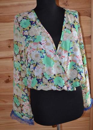 Блуза в стиле кимоно! шифон+кружево