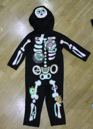 1-2 года/ карнавальный костюм скелет helloween 80-92 см george