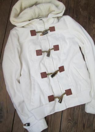 Теплая куртка jennyfer флисовая с капюшоном, размер s-м