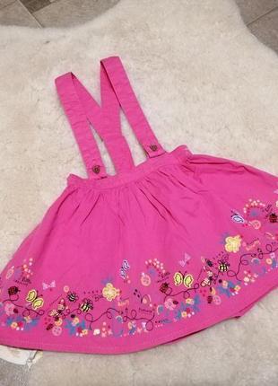 Модная юбочка на подтяжках matalan на 2-3 года