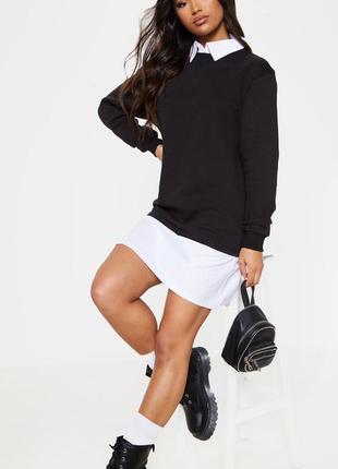 Платье свитер на флисе с воротником prettylittlething,  размер 10