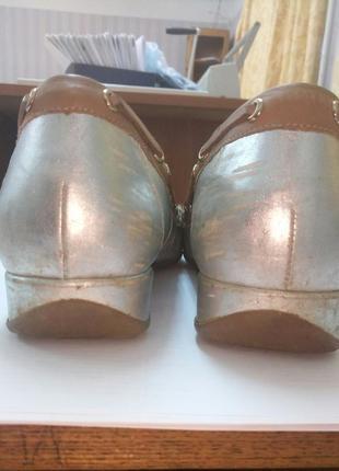 Серебряные мокасины с дополнительным ортопедическими стельками. кожа. европа2 фото