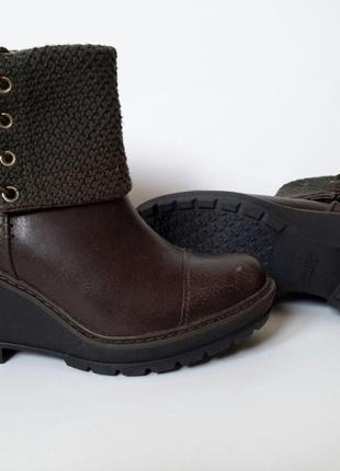 Стильные женские кожаные ботинки (полусапожки) на танкетке timberland.1 фото