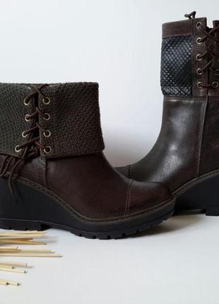 Стильные женские кожаные ботинки (полусапожки) на танкетке timberland.3 фото