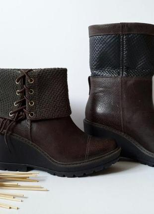 Стильные женские кожаные ботинки (полусапожки) на танкетке timberland.4 фото