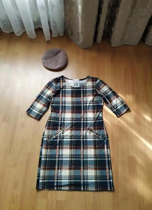 Стильное трендовое платье клетка