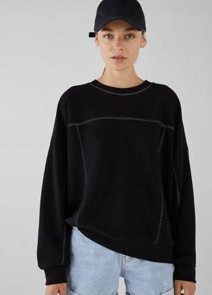 Черная кофта свитшот свитер bershka