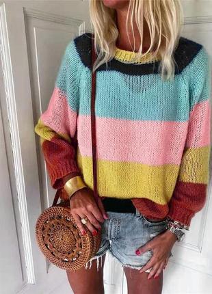 Нежный мохеровый полосатый свитер колорблок размер м