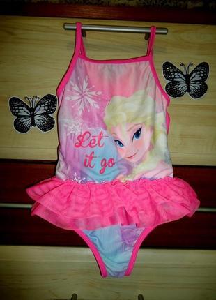 Красивенный купальник с эльзой frozen, с фатиновой юбочкой на 4-5 лет