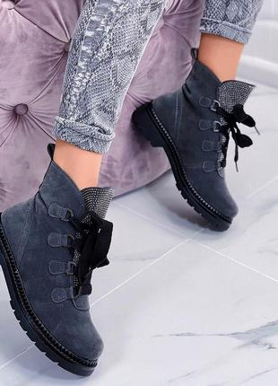 Шикарные зимние ботинки серые