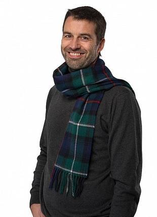 Шотландский мужской шерстяной шарф тартан – 100% шерсть - 30х141 см