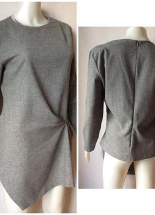 Zara made in spain стильный блузон ассиметричный total grey look2 фото