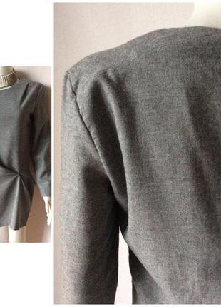 Zara made in spain стильный блузон ассиметричный total grey look4 фото