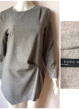Zara made in spain стильный блузон ассиметричный total grey look1 фото