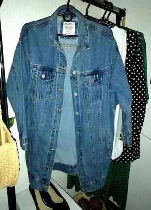 Куртка oversized длинная деним синяя2 фото