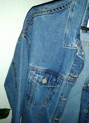 Куртка oversized длинная деним синяя7 фото
